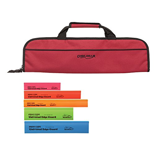 5 Pocket Padded Chef Knife Case Roll  with 5 Pack Assorted C
