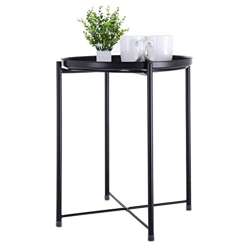 (C-Easy 2019 Simple Style Wrought Iron Small Round Table Coffee Table Side Table. Tray Metal End Table, Sofa Table Small Round SideTables, Anti-Rusty. (Black))