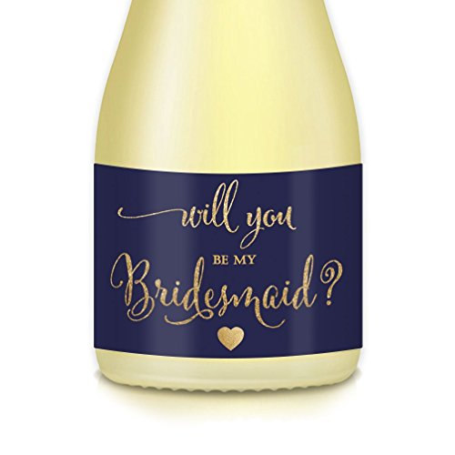 Bridal Proposal Mini Champagne Bottle Labels Bachelorette Party, Engagement, Will You Be My? Bridesmaid Maid Matron of Honor 3.5