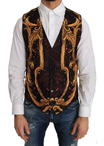 (Dolce & Gabbana Purple Gold Baroque Wool)