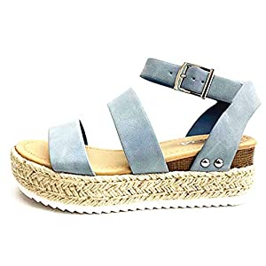 SODA Clip Womens Casual Espadrilles Trim Flatform Studded Wedge
