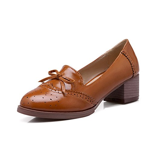 AmoonyFashion Womens Pu Kitten Heels Round Closed Toe Solid Pull On Pumps-Shoes, Brown, 40