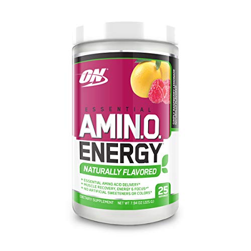 OPTIMUM NUTRITION Naturally Flavored Essential Amino Energy, Simply Raspberry Lemonade, Preworkout and Essential Amino Acids with Green Tea and Green Coffee Extract, 25 Servings