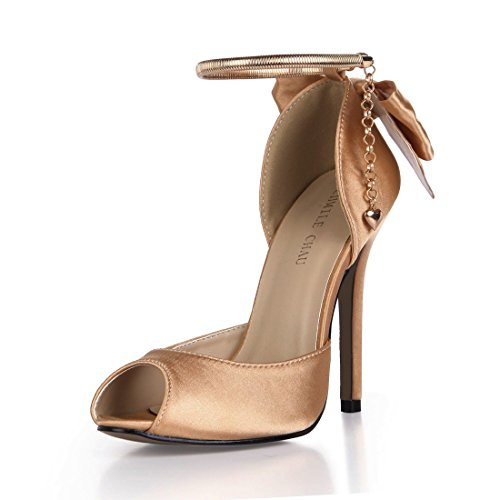 CHMILE CHAU Damenschuhe-Pumps Stiletto-Dünne Fersen-Hoher Absatzschuhe-Elegante-Abiball-Hochzeit-Brautschuhe-Abendschuhe-Schleife-Knöchelriemchen-Peep Toe-Reißverschluss Gold