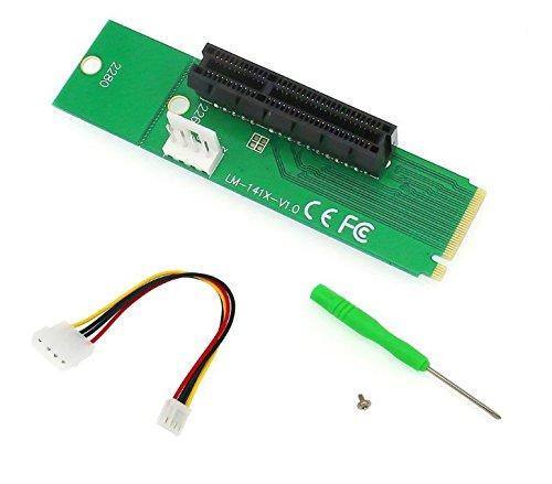 NGFF M.2a PCI-E 4x 1x Riser Tarjeta M2m clave a PCIe x4X1convertidor adaptador con cable de alimentación de 4pines para BTC LTC Eth minero