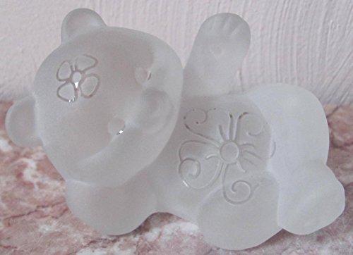 Fenton Reclining Bear Sand Carved Crystal Mist Solid Glass - Rosso OOAK USA (Fenton Crystal Bear)