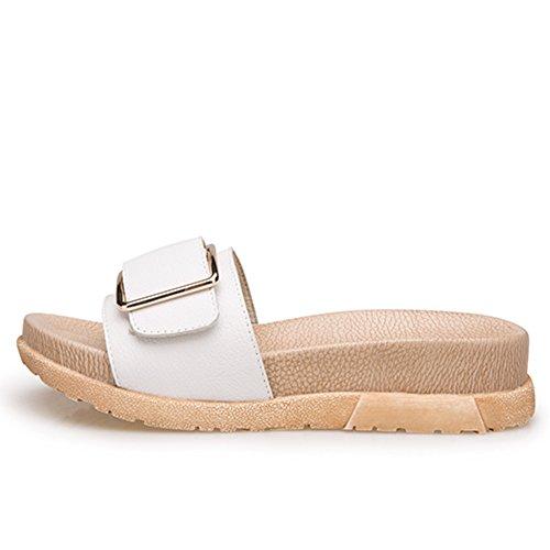 La moda de verano lleva un grueso fondo de la palabra sandalias/Zapatillas de cuero genuino hebilla lateral B
