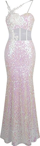 Angel-fashions Women's Sexy See Through Applique Sequin Prom Dress (Sexy Angel Gown)