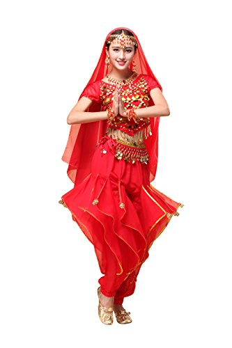 Feimei Woman Exotic Jasmine Belly Dance Costume Set with Halter Top and Harem Pants (Red)