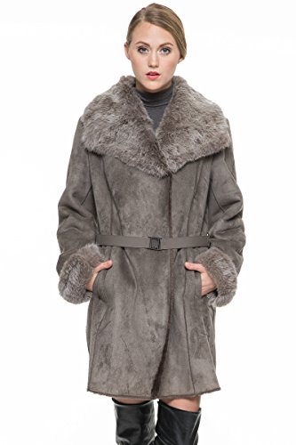 Adelaqueen Women's Faux Suede Lapel Coat with Real Rabbit Fur Collar & Cuffs Grey Large
