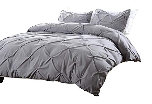 Web Linens Inc 3pc Pinch Pleat Design Gray Duvet Cover Set Style # 1006 - King/California King - Cherry Hill Collection