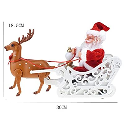 FILDRGT Santa Sleigh and Reindeer Decoration Walking Musical Tabletop Decoration Toys Xmas Plush Doll Figurine: Sports & Outdoors