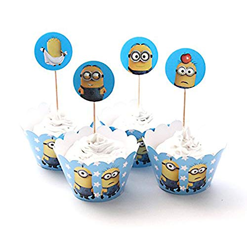 Finex Set of 24 Pcs The Minions Cupcake Wrappers and Toppers Decoration for Kids Girls Boys Birthday Party Favors Supplies dozen -