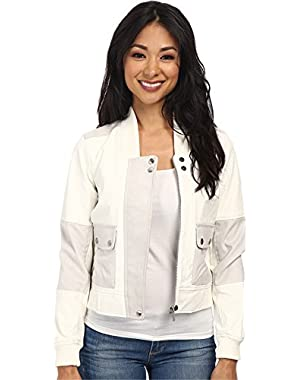 Calvin Klein Jeans Womens Leather & Suede Panel Bomber