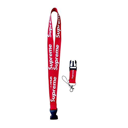Urban Streetwear Lanyard Red- Latest Fashion Design Neck Strap Keychain Holder Ring Style, For Keys Phones Bags Accessories (SUPREME) from CaseTection