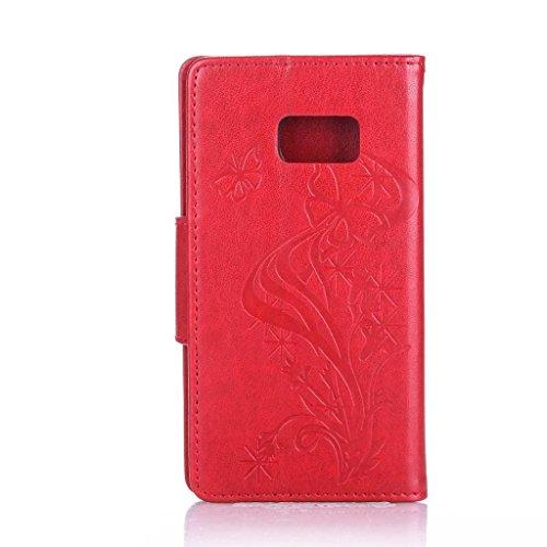 Uming® Patrón Especial de la serie de impresión colorida caja de la PU de la pistolera Caso Holster case ( Diamond Embossing Dandelion Black - para IPhone 6 6S IPhone6S IPhone6 ) de cuero artificial d Diamond Embossing Butterfly Red