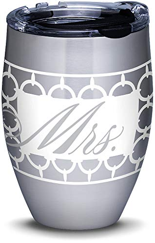 Tervis 1307543 Hallmark - Mrs. Circle Pattern Stainless Steel Insulated Tumbler with Clear and Black Hammer Lid 12oz Silver