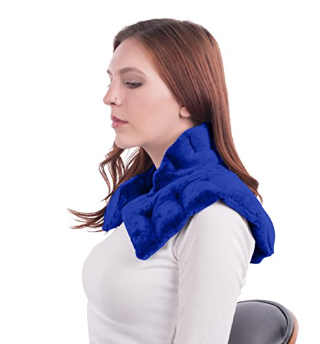 Heated Microwaveable Neck and Shoulder Wrap - Herbal Hot / Cold Deep Penetrating Herbal Aromatherapy (Slate Blue) (Wellness Neck)
