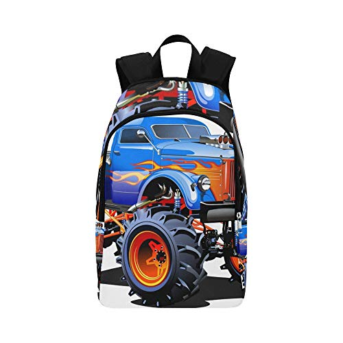 Cute Cartoon Monster Truck Casual Daypack Travel Bag College School Backpack for Mens and Women