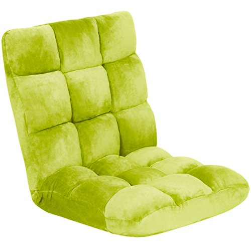 Best Choice Products 14-Position Folding Adjustable Memory Foam Cushioned Padded Gaming Floor Sofa Chair - Green