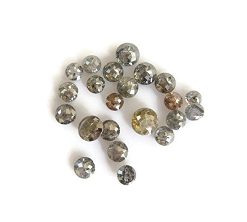 Set Of 5pcs/2.5mm To 4mm/Salt And Pepper Rose Cut Diamond Natural Grey Black Faceted Flat Back -DDS496/10