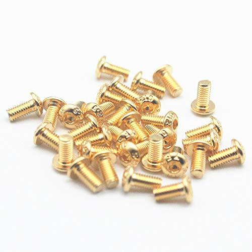 50PCS M3 12.9 Screws Allen Screw Hex Socket Button Head Cap Screws Hexagon Bolts Gold (6mm)