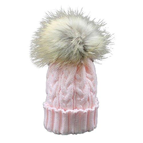 Longra Kleinkind Baby Winter Häkelarbeithut Pelz Wolle Strickmütze warme Mütze (Rosa)