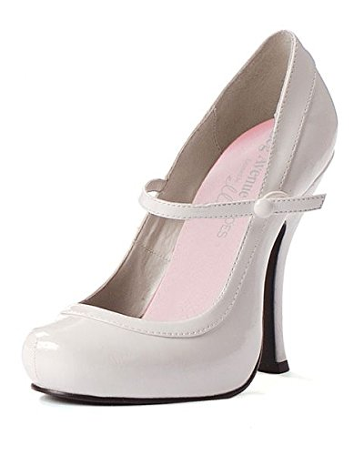 Leg Avenue Women's Shoes 4 Inch Mary Jane Shoe with 1 Inch Concealed Platform (White;9) (White Adult Jane Shoes)