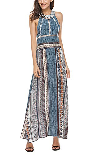 (Women's Halter Neck Backless Front Split Floral Print Long Maxi Beach Dress (Blue-1, L))