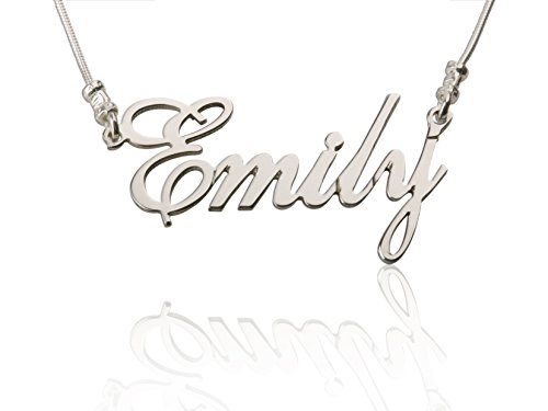 Personalized 925 Sterling Silver Necklace Custom Nameplate Jewelry - Box Chain