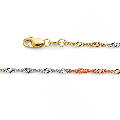 14k Solid Tri-Color Gold 1.8mm Singapore Chain Necklace with Spring Ring Clasp - (Tri Color Singapore Chain)