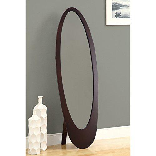 Monarch Cappuccino Contemporary Oval Cheval Floor Mirror