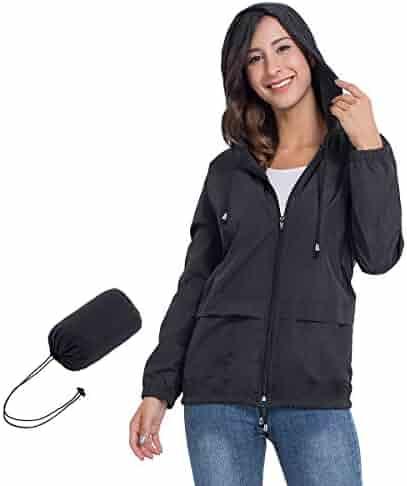 818d255deffd JTANIB Women's Lightweight Hooded Waterproof Raincoat Windbreaker Packable  Active Outdoor Rain Jacket