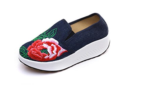 Lazutom Women Lady Vintage Chinese Style Embroidery Casual Walking Sneakers Fashion Traveling Walking Shoes Deep Blue FeT5oN