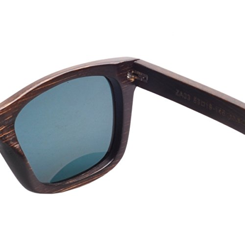 gafas de rojo Unisex de Pintura marrón bambú de Marco lente la Iwood Madera polarizó sol el Pqaww6f