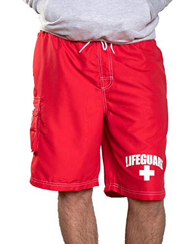 LIFEGUARD Officially Licensed Men's Board Shorts Swim Trunks, Red, -