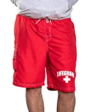 Officially Licensed Red LIFEGUARD? Men's Board Shorts Swim Trunks