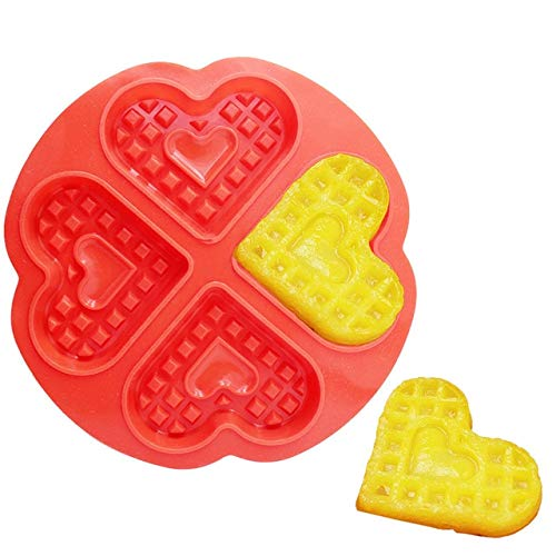 (1 piece DIY Waffle Mold 5-Cavity Heart Shape/4-Hold Square Silicone Oven Pan Baking Cookie Cake Muffin Cake Tools Kitchen Accessories)