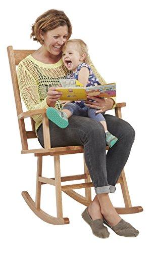 ECR4Kids Heavy-Duty Solid Oak Hardwood Adult Rocking Chair, Natural Finish - Leisure Rocker Finish
