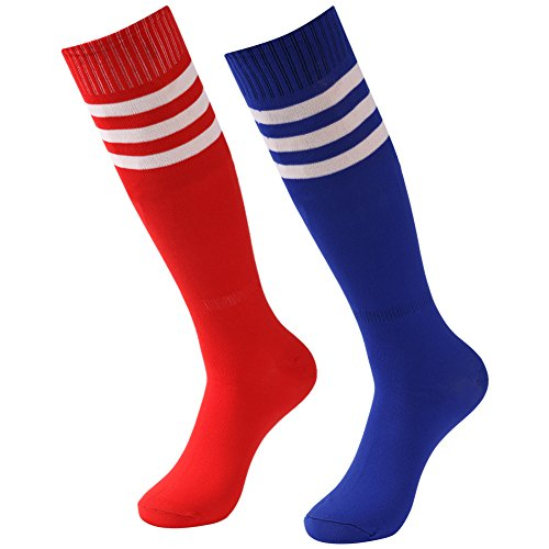 Soccer Team Socks Men, Diwollsam 2 Pairs Striped Football Field Athletic Solid Knee High Tall Socks(Red, Blue) ()