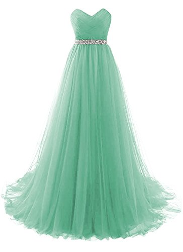 Mint Sweetheart Neckline Ruffles Bridesmaid Dresses Long Prom Evening Gown Empire Waist Size 8 Embellished Prom Gowns