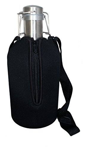 Craft Connections Beer Growler 64 oz Stainless Steel with Swing Top Lid & Neoprene Insulated Jacket Carrier Bag (Growler Beer Carrier)