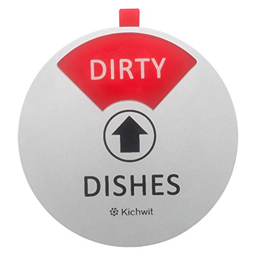 Kichwit Dishwasher Magnet Clean Dirty Sign Indicator, Works on All Dishwashers, Non-Scratch Strong Magnetic Backing, Residue Free Adhesive Included, 4 Inch, Silver