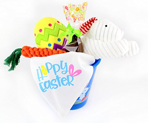 Easter Eggs Dog Bandana - Easter Basket Dog Gift Set by Midlee (Large Bandana, Blue Basket)
