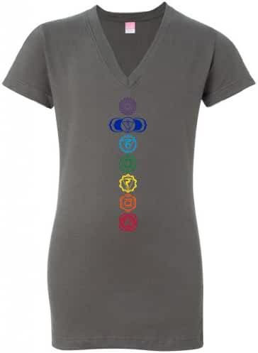 Yoga Clothing For You Ladies Colored Chakras Longer Length Charcoal V-Neck T-Shirt