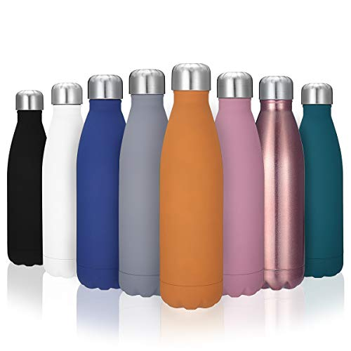 KING DO WAY Double Walled Water Bottle Stainless Steel Metal Bottle Bpa Free & Leak Proof Cola Shape Outdoors Sports Drinking Bottle 17oz Rose Gold