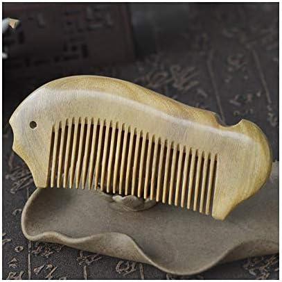 Qukick 木製くしグリーンビャクダンの櫛の魚の形の手作り帯電防止ヘアブラシ (色 : Fine tooth)