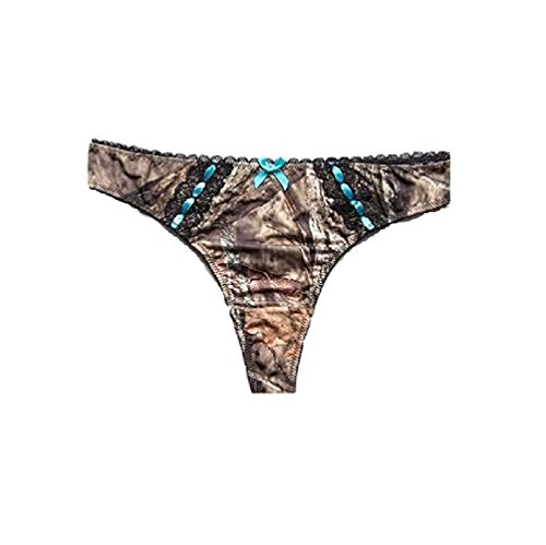Mossy Oak Women's Thong Pantie Breakup Country Camo With Aqua Accents (Small) ()