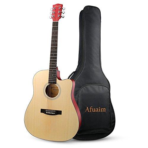 (Guitar Acoustic 41 Inch Cutaway Spruce Steel String Guitar Pack-Natural By Afuaim)