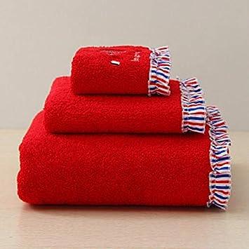 Bearony Suave Juego de 3 Toallas de baño Bordadas absorbentes Toallas de Mano Juego de Toallas de baño (Color : Red): Amazon.es: Hogar